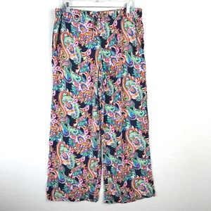 Tommy Bahama Paisley Wide Leg High Rise Pants #775
